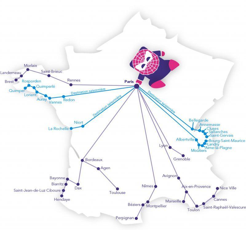 Une quarantaine de destinations sont accessibles aux abonnés iDTGVMAX (DR)