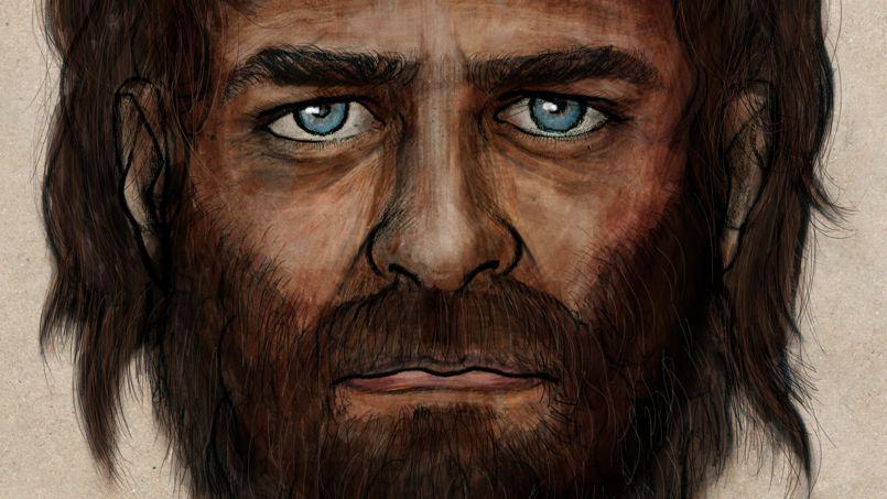 Un homme préhistorique à la peau foncée et aux yeux bleus