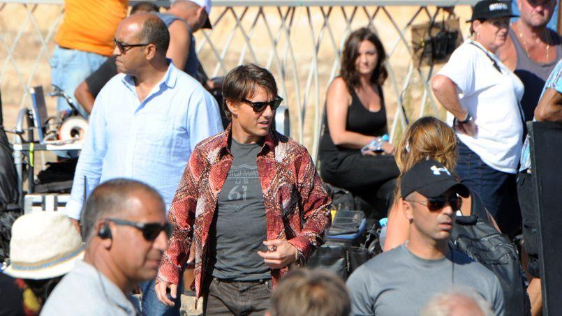 L'acteur Tom Cruise sur le tournage de <i>Mission Impossible 5</i>, à Rabat au Maroc