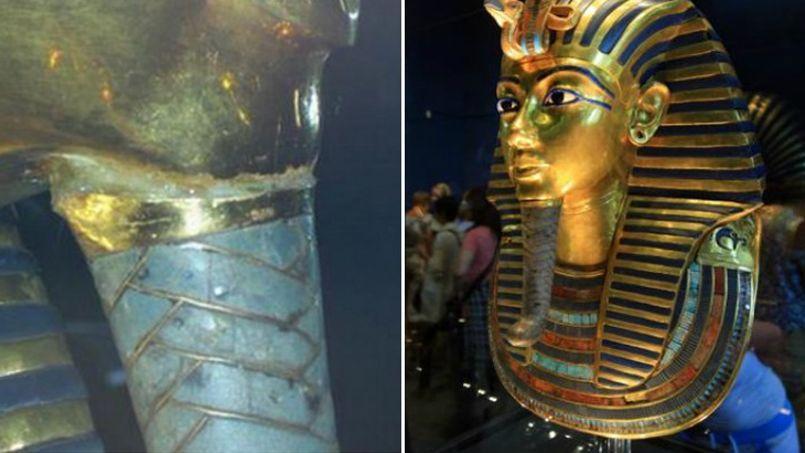 Le masque funéraire de Toutankhamon réparé... avec de la colle