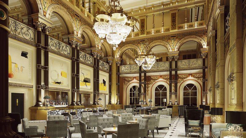 Beautiful Restaurant Gare St Lazare #11: Le Beau Volume Du Grand Salon, 14 Mètres De Hauteur Sous Verrière.