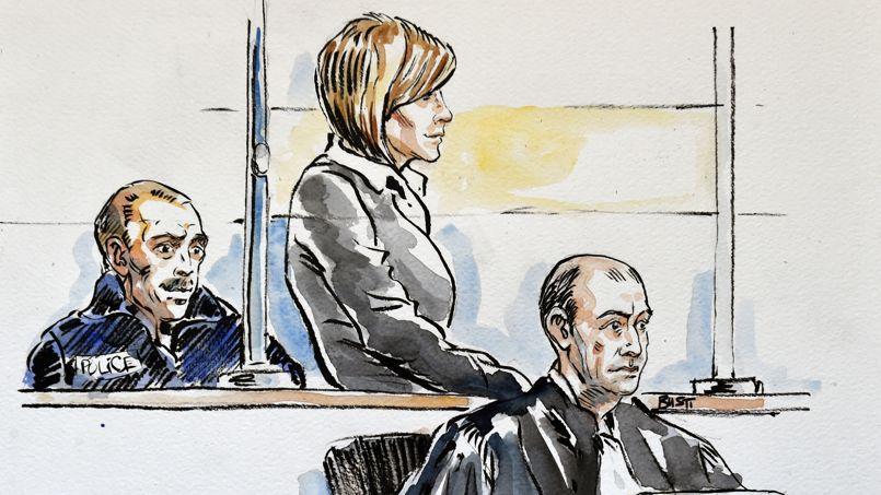 Un croquis de la cour d'assises de l'Ain montre Audrey Chabot et son avocat Jean-François Canis.