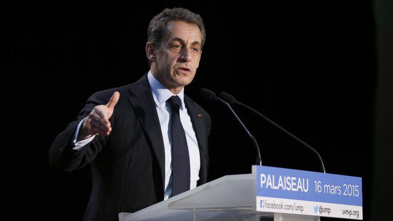 Nicolas Sarkozy en meeting à Palaiseau, le 16 mars 2015.