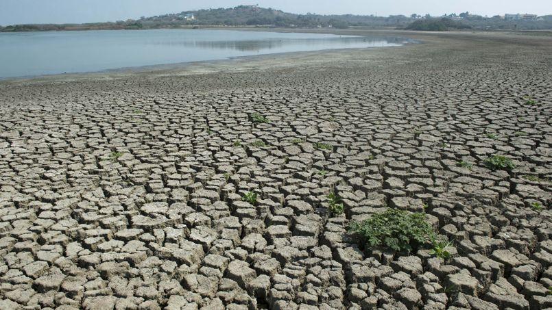 Un lac touché par l'un des plus graves épisodes de sécheresse en Colombie, en juillet.