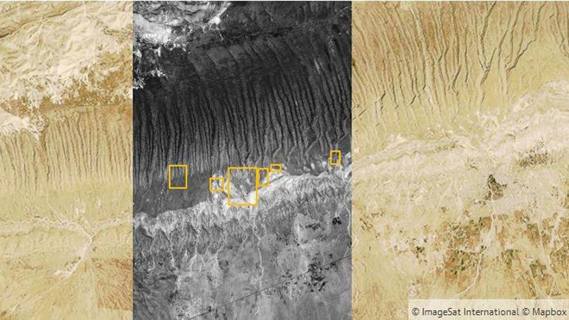 Les images satellitaires prises le 21 août montrent entre autres la présence de Yazidis sur le versant sud des monts Sinjar. Crédits photo: capture écran/The Guardian/ImageSat International/Mapbox.