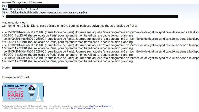 Un mail de déclaration envoyé à la direction des ressources humaines d'Air France par le président du principal syndicat des pilotes de la compagnie aérienne, Jean-Louis Barber.