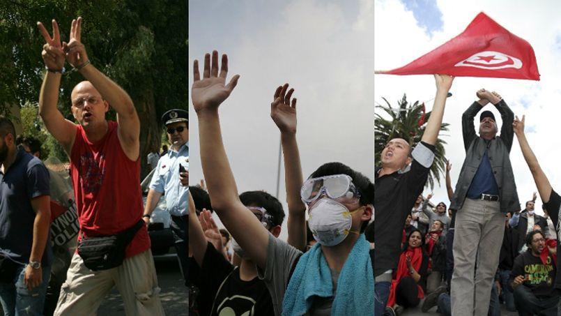Un manifestant grec fait le signe de la victoire, un étudiant Honkongais lève les deux mains en l'air et un manifestant tunisien croise ses bras en signe de protestation.