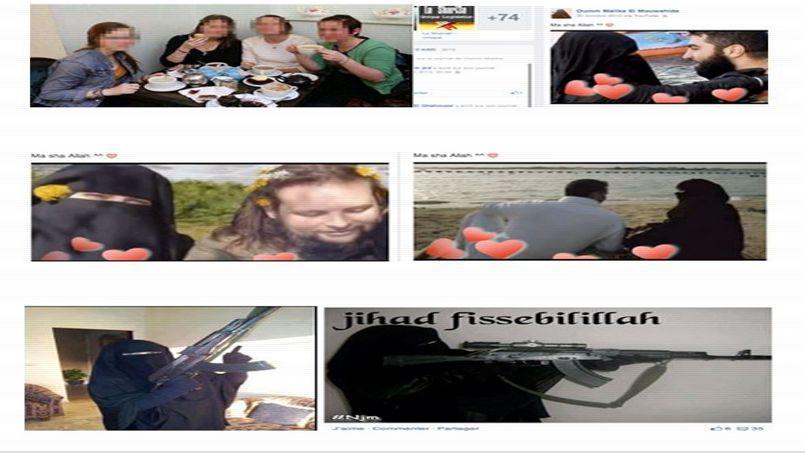 Un exemple de radicalisation affiché sur Facebook entre le premier profil (1ère image) d'une jeune mineure et son deuxième profil (le reste des images) où son endoctrinement apparaît au grand jour. (Extrait du rapport)