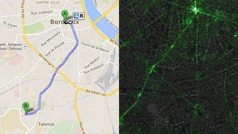 À gauche, le tracé de la ligne de tram, à droite, la ligne de tweets..