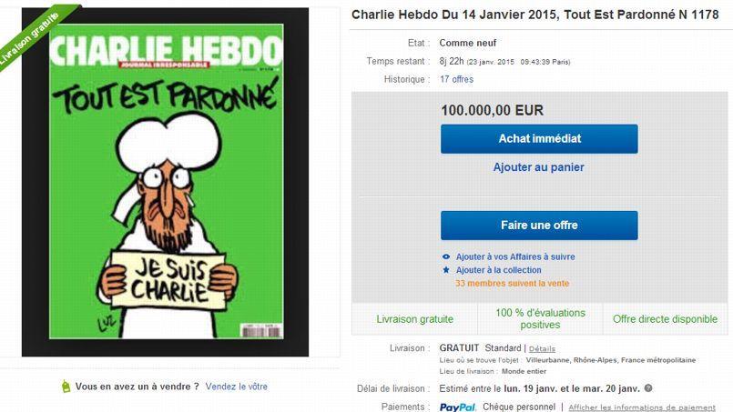 Les prix grimpent vite et haut sur eBay. Repérée mercredi 14 janvier sur le site d'enchères en ligne, une copie du numéro 1178 proposée à 100.000 euros.
