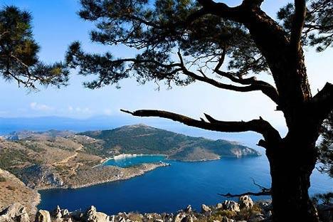 La baie de Panormitis, au sud de l'île.