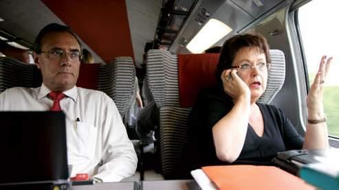 Jean-Paul Bolufer et Christine Boutin, dans le TGV Paris-Lyon, le 17 septembre dernier.