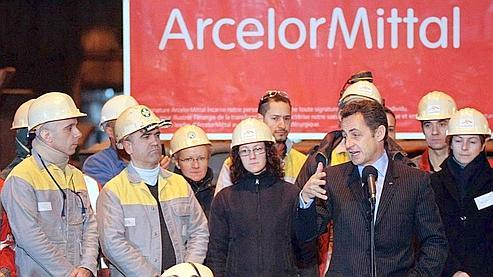Le président Sarkozy devant les salariés du site de Gandrange. (Crédits Photo:AFP PHOTO FREDERICK FLORIN)