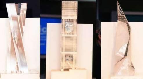 Au centre, le projet défendu par Jean Nouvel. A gauche la tour dessinée par Jean-Michel Wilmotte et à droite celle conçue par Daniel Libeskind. (AFP)