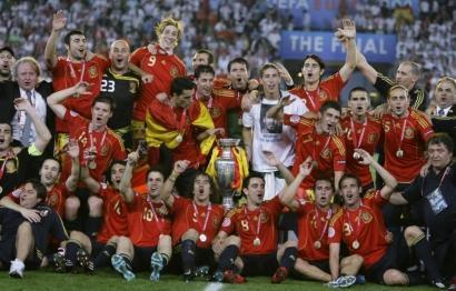 L'équipe d'Espagne peut exulter après sa victoire en finale de l'Euro 2008.