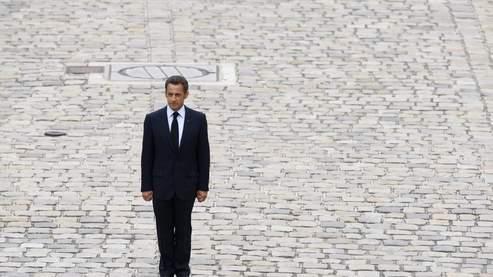 Nicolas Sarkozy, lors de l'hommage aux soldats tués en Afghanistan, vendredi. (Photo Figaro/Bouchon)