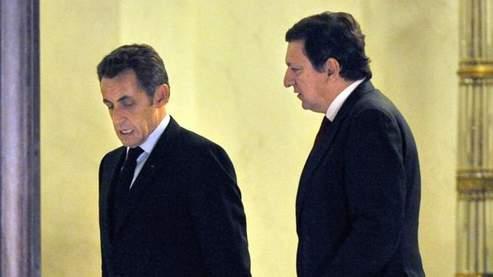 Nicolas Sarkozy et le président de la Commission européenne, Jose Manuel Barroso