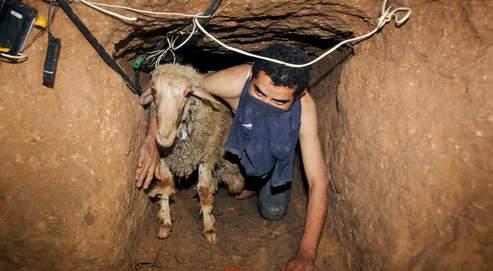 Dans cette photo prise en novembre 2008, un contrebandier se faufile dans un des tunnels qui relient Gaza à l'Egypte.