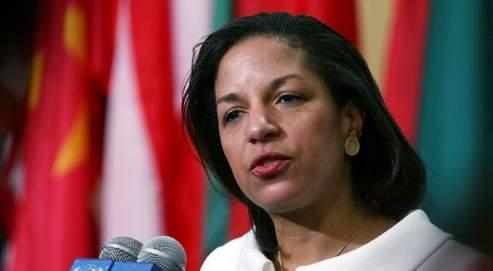 Susan Rice (ici le 26 janvier, lors de la présentation de ses lettres de créance à Ban Ki-moon) est une amie personnelle de Barack Obama, dont elle fut conseillère en politique étrangère dès 2006.