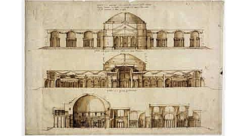 Vue de face du Panthéon et de la reconstruction des Bains d'Agrippa, dessin, vers 1570. (DR)