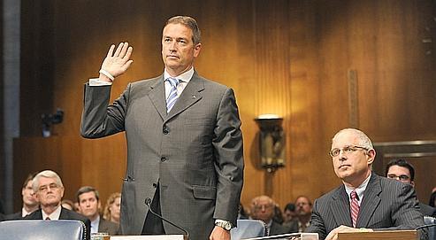 Martin Liechti, ancien responsable de la clientèle américaine d'UBS, devant une commission du Sénat en juillet dernier.