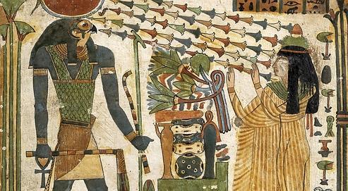 Stèle funéraire (détails) de la dame Tapéret (vers 850-690 avant J.-C.).