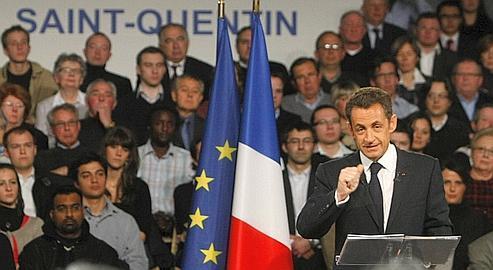 Nicolas Sarkozy a défendu les valeurs de «l'effort, de la responsabilité, de l'honnêté», devant 4500 personnes, mardi à Saint-Quentin.