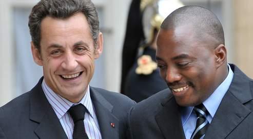 Nicolas Sartkozy et Joseph Kabila, le président de la République démocratique du Congo, lors sa venue à Paris en 2008.