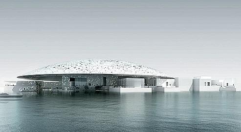 Vue en image de synthèse du projet du Louvre Abu Dhabi par l'architecte Jean Nouvel.