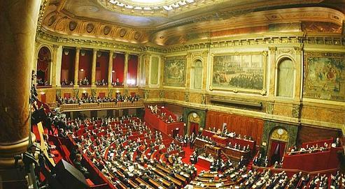 Séance du Congrès, le 19 février 2007 dans l'hémicycle de l'aile du Midi du château de Versailles, là où Nicolas Sarkozy s'exprimera devant le Parlement.