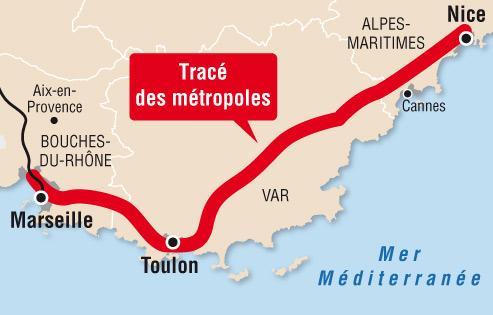 Jean-Louis Borloo, le ministre de l'Écologie, a officialisé lundi le tracé de la future ligne à grande vitesse Paris-Nice. Celle-ci passera finalement par Marseille et Toulon avant d'arriver à Nice. Photo F Bouchon Le Figaro.