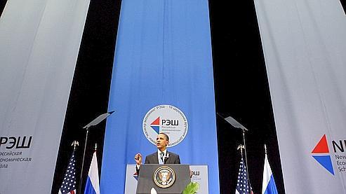 Barack Obama s'exprimait mardi devant les étudiants de la Nouvelle école économique de Moscou.