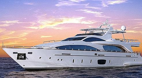 Un yacht Azimut-Benetti 105, l'un des deux modèles saisis à Viareggio en Toscane.