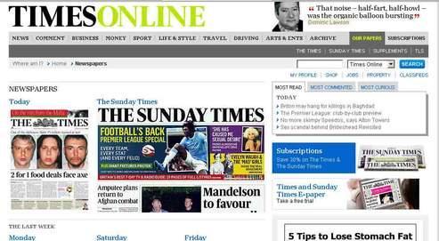 Capture écran de la page d'accueil du site du Times mentionnant ses offres d'abonnement.