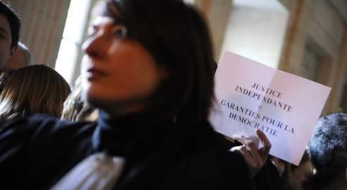 Manifestation de magistrats en janvier au palais de Justice de Paris pour protester contre la réforme de la justice.