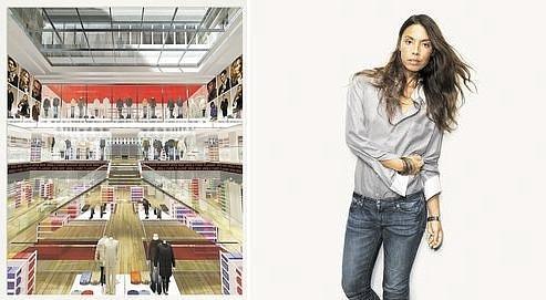 A gauche, une modélisation 3D du nouveau magasin Uniqlo Paris ; à droite, la djette Nadège Winter, l'une des égéries de la campagne publicitaire de la marque.