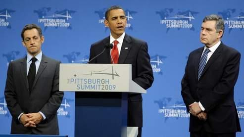 Nicolas Sarkozy, Barack Obama et Gordon Brown, vendredi à Pittsburgh.