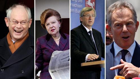 Herman Van Rompuy, Vaira Vike-Freiberga, Jean-Claude Juncker et Tony Blair. (Crédits photo : AP et REA)