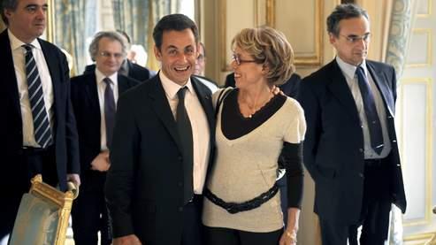 Catherine Camus en compagnie de Nicolas Sarkozy, en novembre 2007 à l'Elysée.