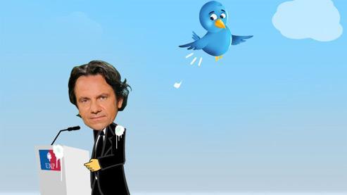 Montage photo associant le fameux oiseau gazouilleur de Twitter (tweet = gazouilli en anglais) et Frédéric Lefebvre, déposé par un internaute. DR