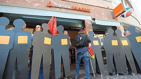 Manifestation d'employés de France Télécom à Strasbourg, le 7 octobre 2009.
