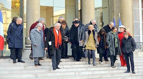 Les dix équipes d'architectes urbanistess engagées sur le Grand Paris, mardi à l'Élysée.