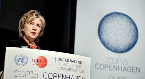 Hillary Clinton, la secrétaire d'État américaine, jeudi à Copenhague. Le président Obama arrive vendredi.