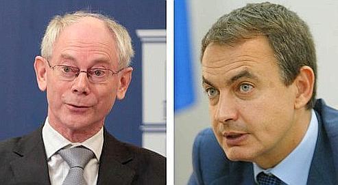 Preuve de bonne volonté, l'Espagne (à droite) a assuré qu'il revenait à M.Van Rompuy (à gauche) de conduire «de manière adéquate la fonction de leadership, de direction du Conseil européen».