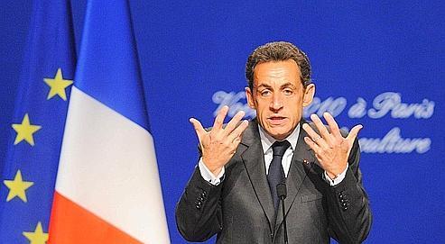 Nicolas Sarkozy, jeudi, à la Cité de la musique, à Paris.