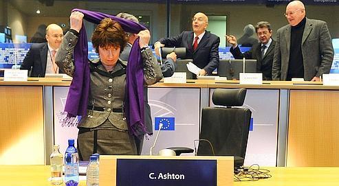 La Britannique Catherine Ashton, haute représentante del'UE pour les Affaires étrangères,lors de son audition par la commission parlementaire, hier à Bruxelles.