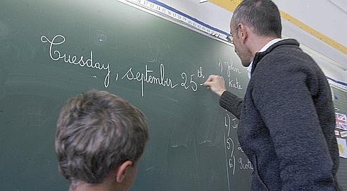 Cours d'anglais à l'école primaire rue Dussoubs dans le IIe arrondissement de Paris.
