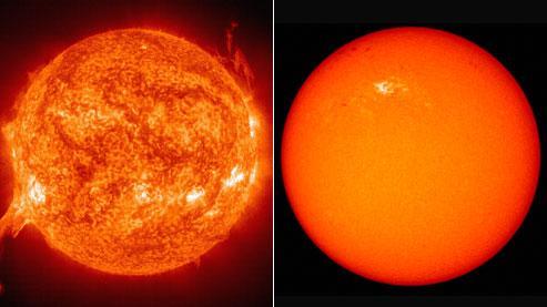 Le Soleil en forte activité, à gauche, en juillet 2002. À droite, une image prise le 11 janvier dernier : seules quelques taches sombres laissent présager un «redémarrage»de notre astre.