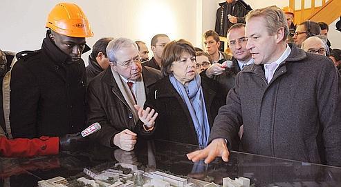 Ali Soumaré (à gauche) avec Jean-Paul Huchon et Martine Aubry, le 2 février 2010 à Cergy-Pontoise