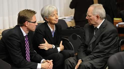 La ministre de l'Economie française Christine Largarde, aux côtés de son homologue allemand, Wolfgang Schäuble.